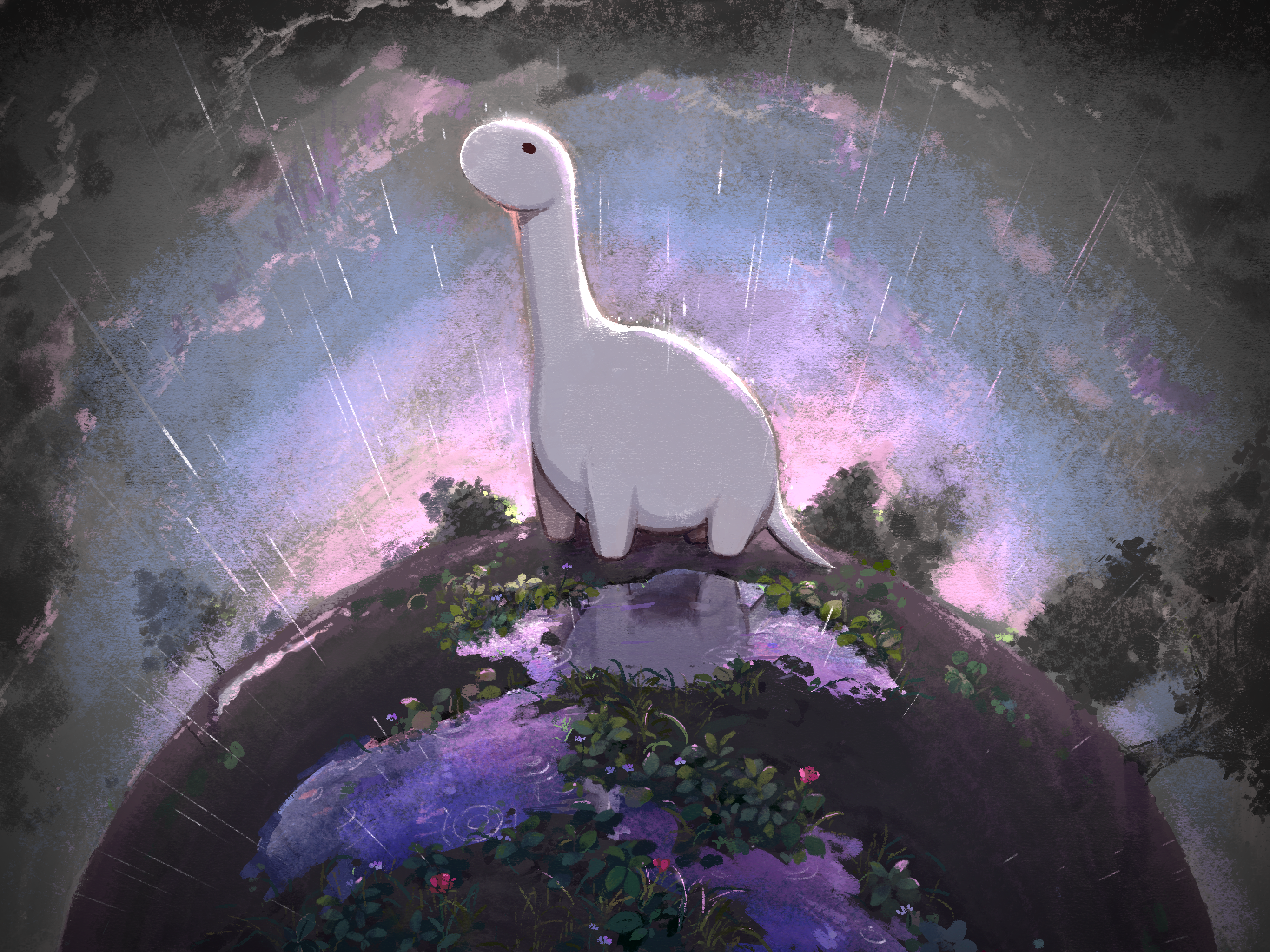 a gloomy scene with a white dinosaur standing in the rain on a purple planet
